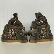 Stunning Bronze Fireplace Statues Of Lion And Snake And Tiger And Wild Boar