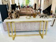 Handmade Bone Inlay White Floral Console Table