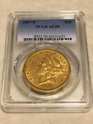 1867-s 20 Pcgs Au50 Liberty Double Eagle Gold Coin Eye Clean Nice Appeal