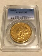 1868-s 20 Pcgs Xf45 Liberty Double Eagle Gold Coin Very Nice Appeal Eyeclean