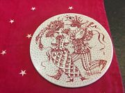 Vintage Nymolle Bjorn Wiinblad Tile Plaque In Red The Month Febuar/february