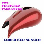 Ember Red Sunglo Stretched Tank Cover For Harley 08-20 Street Glide And Road Glide