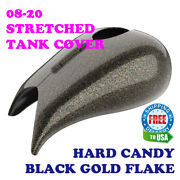 Hard Candy Black Gold Flake Stretched Tank Cover For Harley 2008-20 Street Road