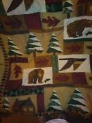 Country Bear Cabin Quilt Wall Decor Rare Fleece Blanket Winter Cottage