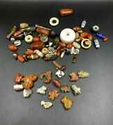 Lot Of Antique Himalayan Old Carnelian, Agate ,crystals Jewelry Amulet Beads