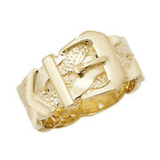 Genuine 9ct Yellow Gold Menand039s Plaited Belt Buckle Ring S-z Sizes - Gift Boxed