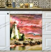 Kitchen Dishwasher Magnet Cover - Lighthouse Before Storm
