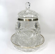 Xl Punch With Lid And Tray 800er Silver Crystal Glass H.schrader B-87