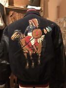Jeff Hamilton Stadium Jacket Eagle In Shield Of Sun And Spear Patched M 4775