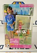 New Mattel Barbie You Can Be Anything Soccer Coach Brunette Doll Playset