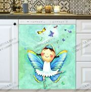 Kitchen Dishwasher Magnet Cover - Cute Little Butterfly Fairy