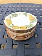Stangle Pottery Hand Painted Sculptured Fruit Desert Plates Set Of Eight 6.25