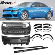 Fits 15-20 Dodge Charger Widebody Whole Bumper Side Matte Black Diffuser Kits