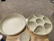 Vtg Tupperware Divided Veggie Relish Chip And Dip Serving Tray W/dip Bowl And Lid