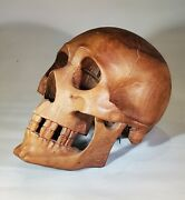 Life Size Master Skull Carved Wooden Sculpture Wood Carving Free Mason Relic