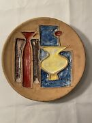 Mid Century Modern Alvino Bagni Raymor Pottery Plate Vintage Signed Numbered