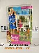 New Mattel Barbie You Can Be Anything Soccer Coach Blonde Doll Playset