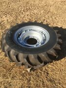 Qty 4 Of New Titan 12.4-24 Bias 8 Ply R1 Tractor Tire With Adj Ag Wheel 12.4r24