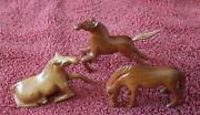3 Hand Carved Wooden Horses Vintage Figurines Laying Horse Prancing And Eating