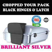 Brilliant Silver Chopped Tour Pack Black Hinges Latch Fit 97-20 Harley Touring