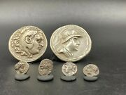 Lot Of Ancient Antique Indo Greco Greek Bactrian Silver Coins From Central Asia