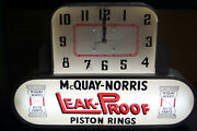 Rare Vintage Mcquay Norris Piston Rings Light-up Clock And Sign Lackner 1957 Works