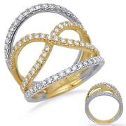 Estate Large .84ct Diamond 14kt White And Yellow Gold 3d Infinity Love Ring