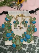 Kate Spade Blue Green Aqua Teal Cluster Fiesta Crystal Earrings And Necklace Set