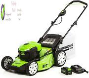 Greenworks M-210 21-inch 40v Brushless Push Mower 6ah Battery Charger Include