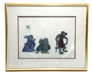 Disney Animation Cel - Rabit And Owls From Robin Hood Authentication Stamp 1973