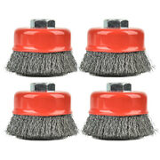 Aain 4pcs 3 Inch Crimped Wire Cup Brush Wheel Set For Angle Grinders 5/8-11 Unc