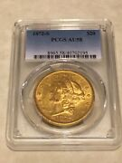 1872-s Au58 Pcgs 20 Liberty Double Eagle Gold Coin Great Appeal Almost Ms