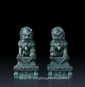 Chinese Copper Exorcise Evil Spirits Animal Fu Foo Dog Bei Jing Door Lion Statue