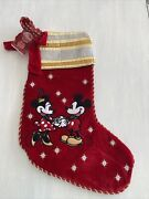 Disney Store Retired Embroidered Christmas Stocking Mickey Minnie Holiday Nwt