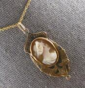 Antique Victorian Handcrafted 14k Yellow Gold Lady Cameo Floating Pendant 27216