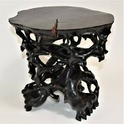 Antique Chinese Black Stained Carved Hard Wood Root Side Table, Stand