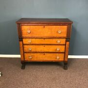 Early 19th C Vermont Cherry And Tiger Maple Chest Of Drawers W/ Carved Claw Foot
