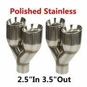 2x Stainless 2.5in 3.5out Left Right Exhaust Dual Slant Polished Tip Staggered