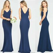 Show Me Your Mumu Morgan Trumpet Gown Maxi Wedding Dress Size M Navy Luxe 198