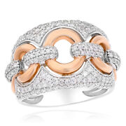 Wide 14k White Rose Gold Two Tone Pave Round Diamond Cocktail Chain Link Ring