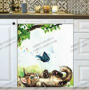 Kitchen Dishwasher Magnet - Cute Kitten Playing With A Butterfly