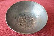 Hammered Copper Bowl Antique Chinese Hand Flower Repousse Tin Lined Vintage 12