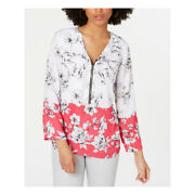 Alfani Womens Pink Zip Front Floral Colorblock Long Sleeve V-neck Top Size L New