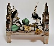 Koshari Fabric Doll Clowns Carved Wood Bed Polychrome Painted Diorama Signed Big