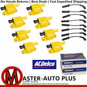 Acdelco 41962 Spark Plug + Uf413 Yellow Ignition Coil Wire For Chevrolet V8 4.8l