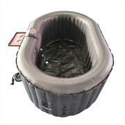 Inflatable Hot Tub Spa 2 Person Bubble Massage Jets Black Oval W/ Cover And Tray
