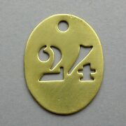 Vintage Brass Number 24 French Medal Charm Birthday Industry Industrial.