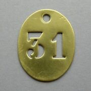 Vintage Brass Number 31 French Medal Charm Birthday Industry Industrial.