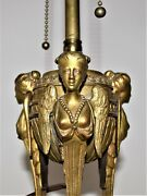 Antique French Maison Bagues Brass Lamp Figural Females Women Angel Wings
