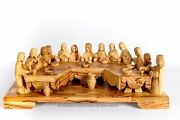 Large Hand Carved Last Supper Olive Wood Table, Made In Jerusalem The Holy Land.